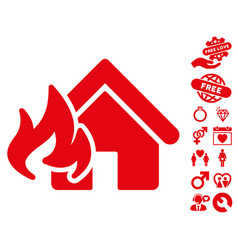 fire damage icon with love bonus vector image