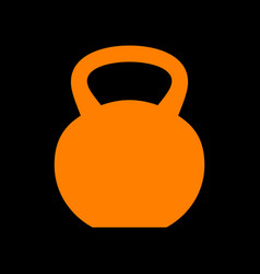 Fitness dumbbell sign orange icon on black vector