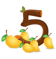 Five mangoes vector image