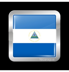 Flag of Nicaragua Metal Icon Square Shape vector