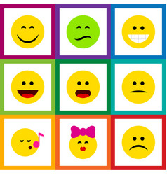 Flat icon expression set of laugh smile wonder vector