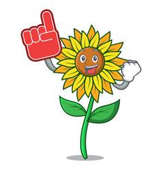 foam finger sunflower mascot cartoon style vector image