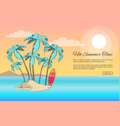 Forever summer poster depicting small island vector