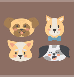 Funny cartoon dog character heads bread cartoon vector