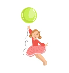 Girl flying holding a big green balloon vector