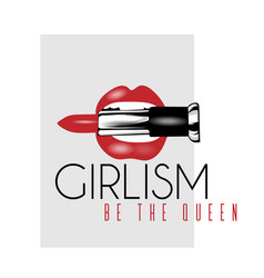 girlism be queen hand drawn of vector image