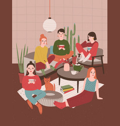 Group of young women sitting in room furnished in vector
