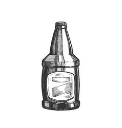 Hand drawn glass bottle with blank label vector