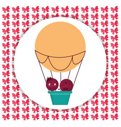 happy couple flying in balloon air hot vector image
