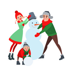 Happy family making snowman hello winter vector
