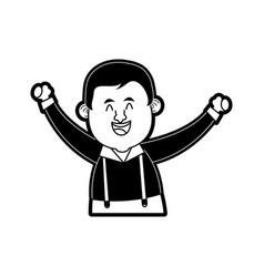 happy man in folk german costume raising arms icon vector image