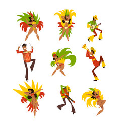 Happy people dancing and playing music brazil vector