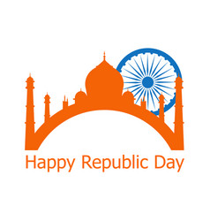happy republic day of india 26 th january ashoka vector image