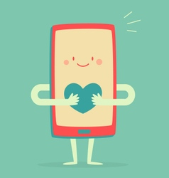 Happy Smartphone Holding a Heart vector image