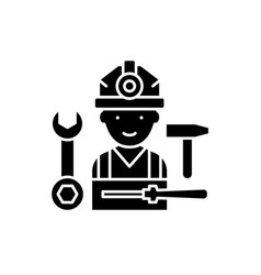 installation work black icon sign on vector image