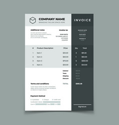 invoice template bill with price table paper vector image