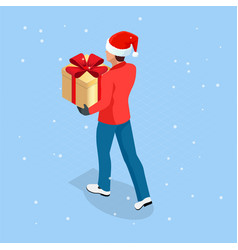 Isometric online christmas shopping delivery man vector