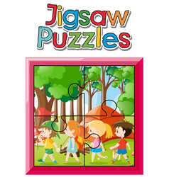 jigsaw puzzle with kids camping in woods vector image