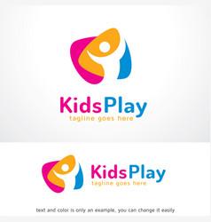Kids play logo template design emblem design vector