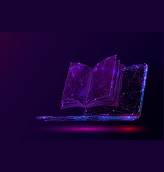 laptop and book low poly vector image