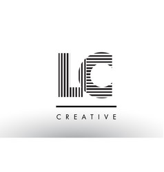 Lc l c black and white lines letter logo design vector