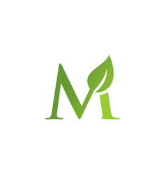 Letter m leaf nature logo vector