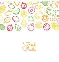 line fruits icons background with place vector image