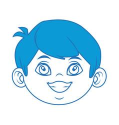 Little boy face cartoon kid male vector