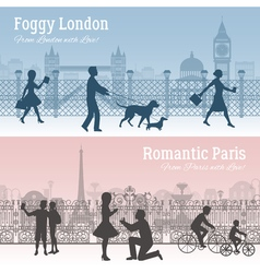 London And Paris Banners Set vector image
