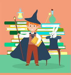 Male character wizard kid school magic time flat vector