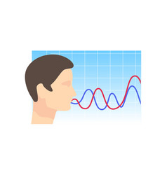 Man head right view security voice recognition vector
