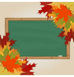 Maple leaves and green chalkboard vector image