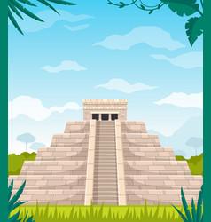 Maya civilization monument cartoon vector