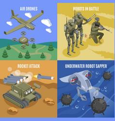 Military robots 2x2 design concept vector