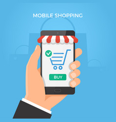 mobile online shopping concept hand holding vector image