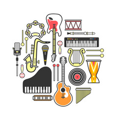 Musical instruments formed in neat circle isolated vector