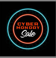 Neon style cyber monday sale banner design vector