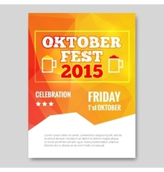 Octoberfest triangle flyer orange background party vector image
