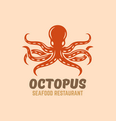 octopus seafood restaurant menu logo vector image