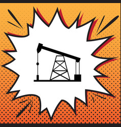 oil drilling rig sign comics style icon vector image