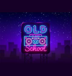 Old school neon sign retro music design vector