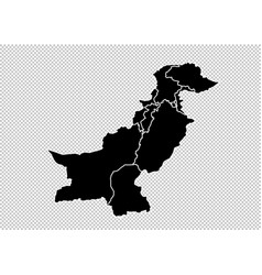 Pakistan map - high detailed black map with vector