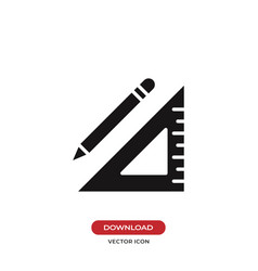 Pencil and square ruler icon vector
