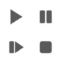 Play pause stop forward signs set vector