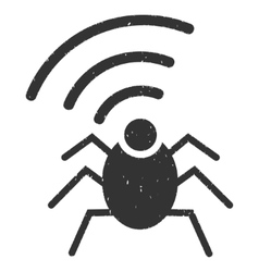 Radio Spy Bug Icon Rubber Stamp vector image