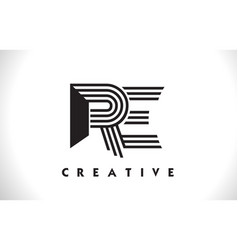 Re logo letter with black lines design line letter vector