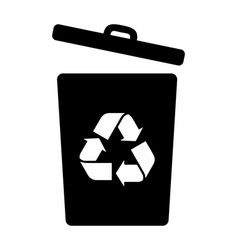 Recycling bin can dumpster with an opened lid vector