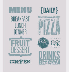 restaurant menu typographic grunge design vector image