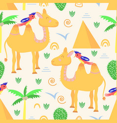 seamless pattern with camel in scandinavian style vector image