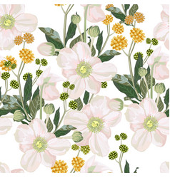 Seamless pattern with white anemone flowers vector